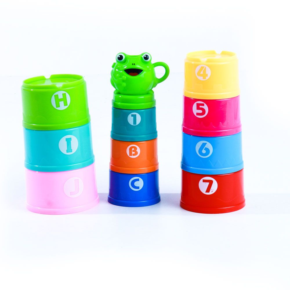 Colorful Nesting & Stacking Cups Tower with Numbers and ABC Characters Learning Toys for Toodlers 618-26