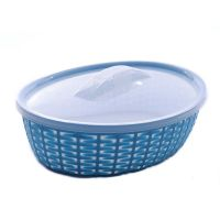 A2 Pearl Bamboo Style Bowl Oval Shapes With Lid  Mixed Colour