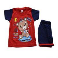 Happy Kid Milo Half Sleeve T Shirt with Shorts - L(6-12 Months)- 5 Colour Set