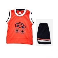 Happy Kid Nilco Sleeveless T Shirt with Shorts - S(0-3Months) - 4 Colour Mix