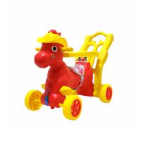 Baby Derbi Horse Rocker 4 in 1 with Wheels and Parental Push Handle -Red