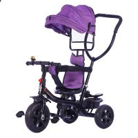 Baby Tricycle With Parental Push Handle & Rotatable Seat With Canopy KBQ619B-Violet